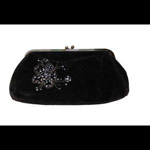 EXPRESS clutch purse velour w floral sequences
